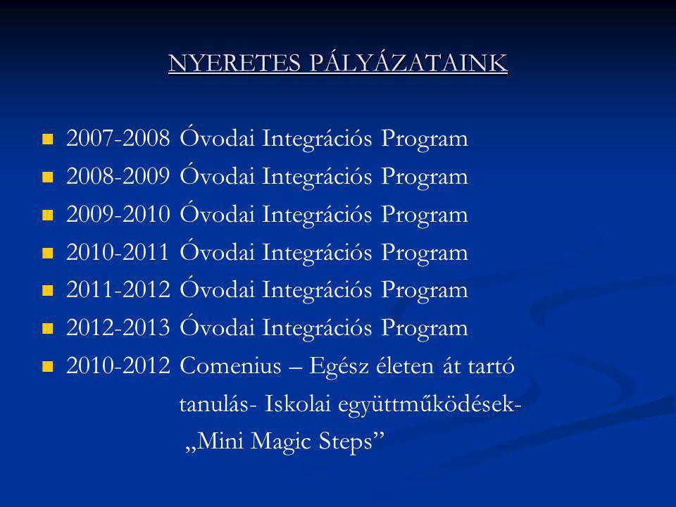 NYERETES PÁLYÁZATAINK   2007-2008 Óvodai Integrációs Program   2008-2009 Óvodai Integrációs Program   2009-2010 Óvodai Integrációs Program   2
