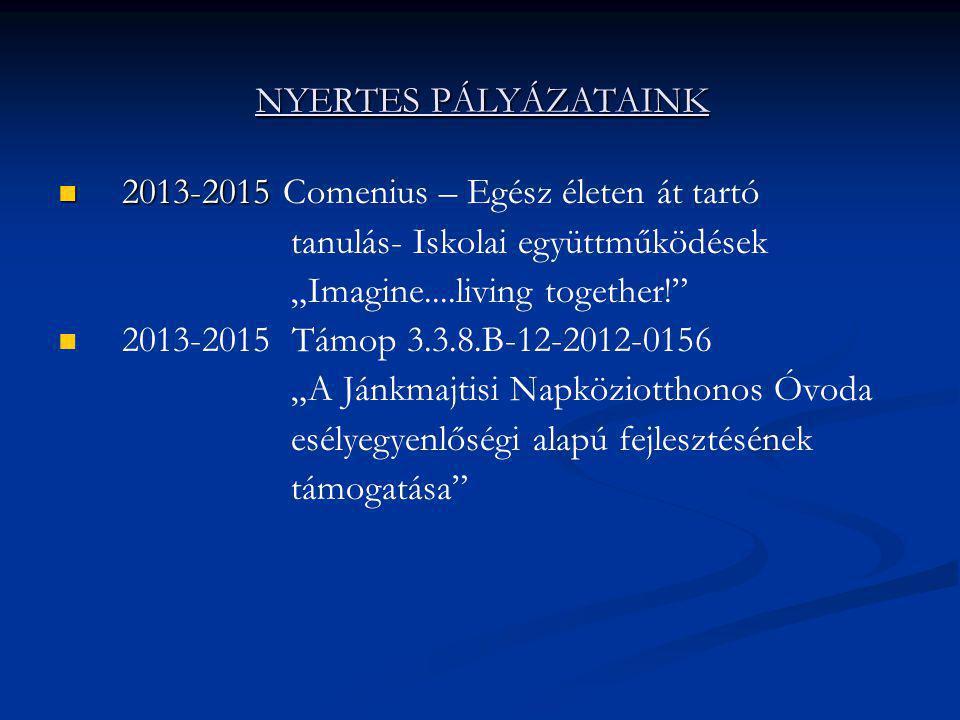 """ 2013-2015  2013-2015 Comenius – Egész életen át tartó tanulás- Iskolai együttműködések """"Imagine....living together!""""   2013-2015 Támop 3.3.8.B-12"""