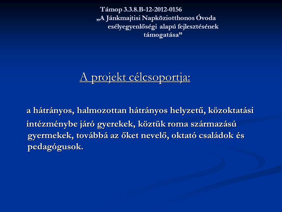 """Támop 3.3.8.B-12-2012-0156 """"A Jánkmajtisi Napköziotthonos Óvoda esélyegyenlőségi alapú fejlesztésének támogatása"""" A projekt célcsoportja: A projekt cé"""