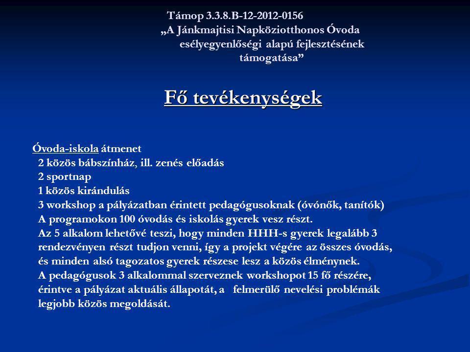 """Támop 3.3.8.B-12-2012-0156 """"A Jánkmajtisi Napköziotthonos Óvoda esélyegyenlőségi alapú fejlesztésének támogatása"""" Fő tevékenységek Fő tevékenységek Óv"""