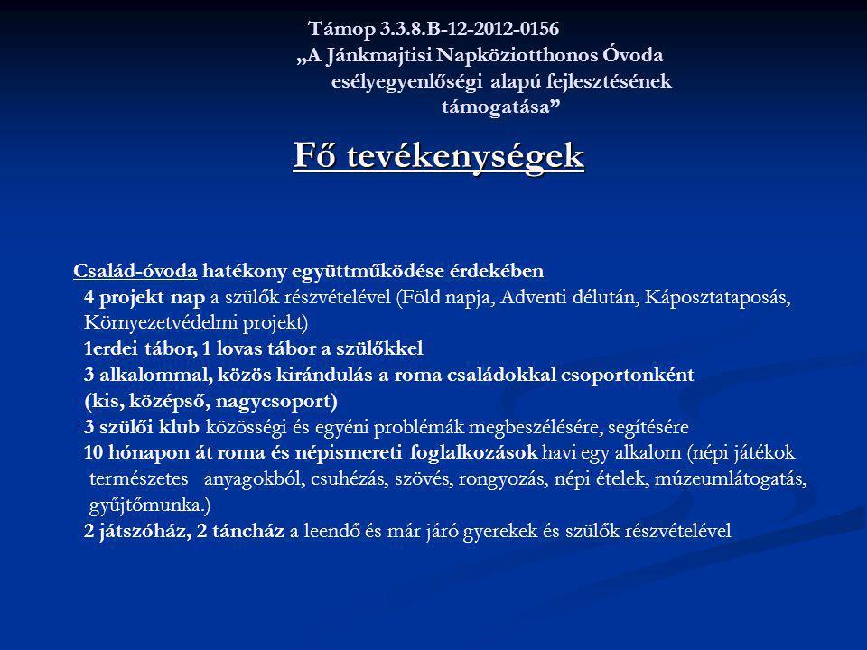 """Támop 3.3.8.B-12-2012-0156 """"A Jánkmajtisi Napköziotthonos Óvoda esélyegyenlőségi alapú fejlesztésének támogatása"""" Fő tevékenységek Fő tevékenységek Cs"""