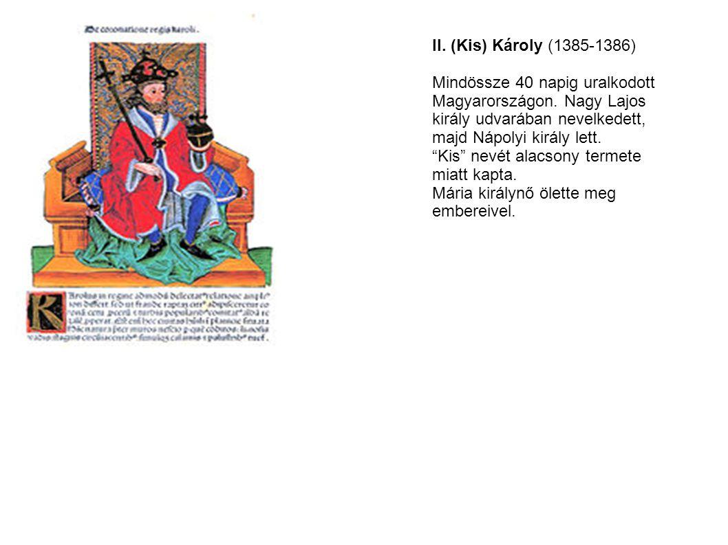 """II. (Kis) Károly (1385-1386) Mindössze 40 napig uralkodott Magyarországon. Nagy Lajos király udvarában nevelkedett, majd Nápolyi király lett. """"Kis"""" ne"""