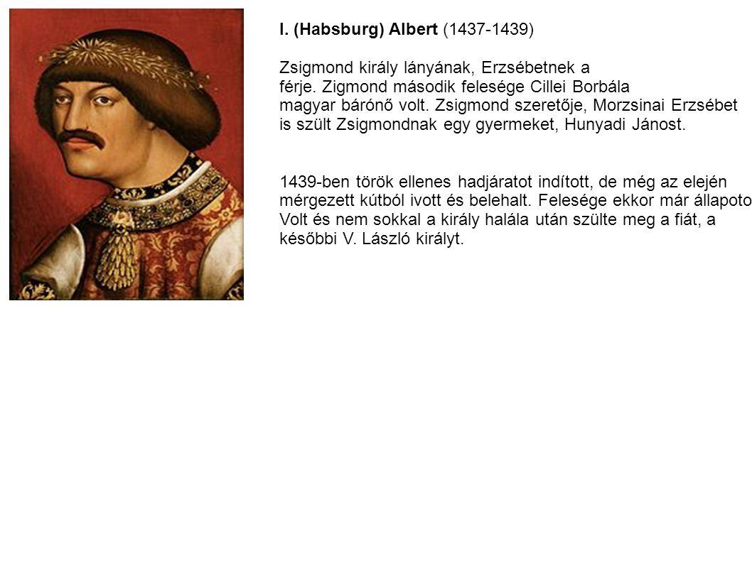I. (Habsburg) Albert (1437-1439) Zsigmond király lányának, Erzsébetnek a férje. Zigmond második felesége Cillei Borbála magyar bárónő volt. Zsigmond s