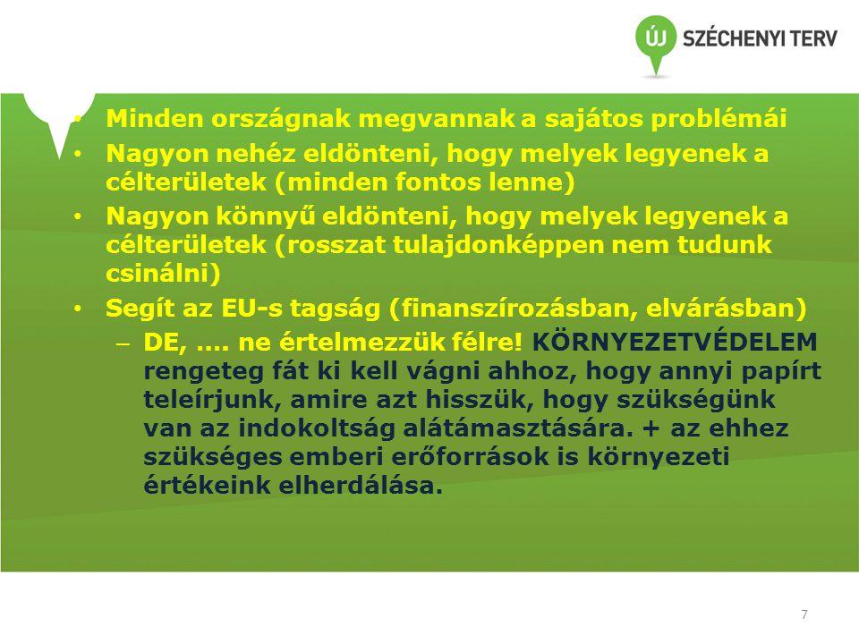 • Minden országnak megvannak a sajátos problémái • Nagyon nehéz eldönteni, hogy melyek legyenek a célterületek (minden fontos lenne) • Nagyon könnyű eldönteni, hogy melyek legyenek a célterületek (rosszat tulajdonképpen nem tudunk csinálni) • Segít az EU-s tagság (finanszírozásban, elvárásban) – DE, ….