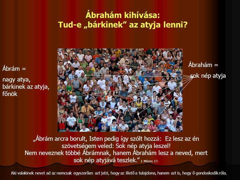 """""""Ábrám arcra borult, Isten pedig így szólt hozzá: Ez lesz az én szövetségem veled: Sok nép atyja leszel! Nem neveznek többé Ábrámnak, hanem Ábrahám le"""