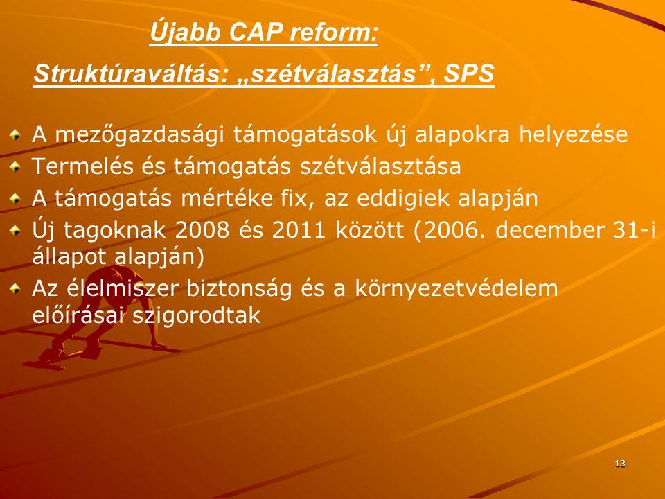 """13 Újabb CAP reform: Struktúraváltás: """"szétválasztás"""", SPS A mezőgazdasági támogatások új alapokra helyezése Termelés és támogatás szétválasztása A tá"""