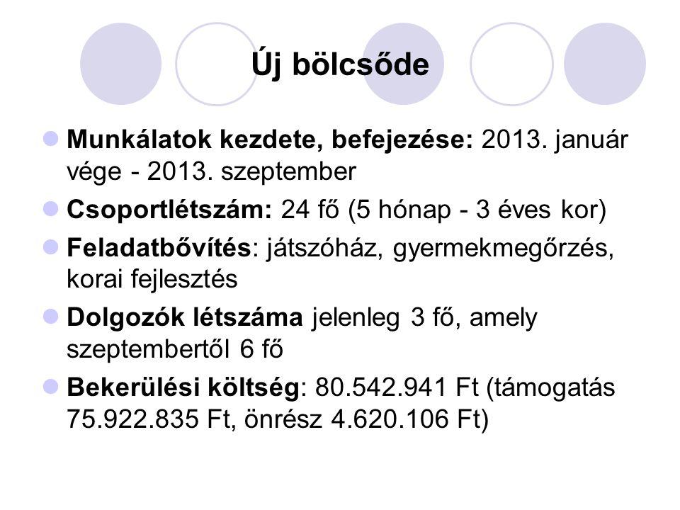 Új bölcsőde  Munkálatok kezdete, befejezése: 2013.