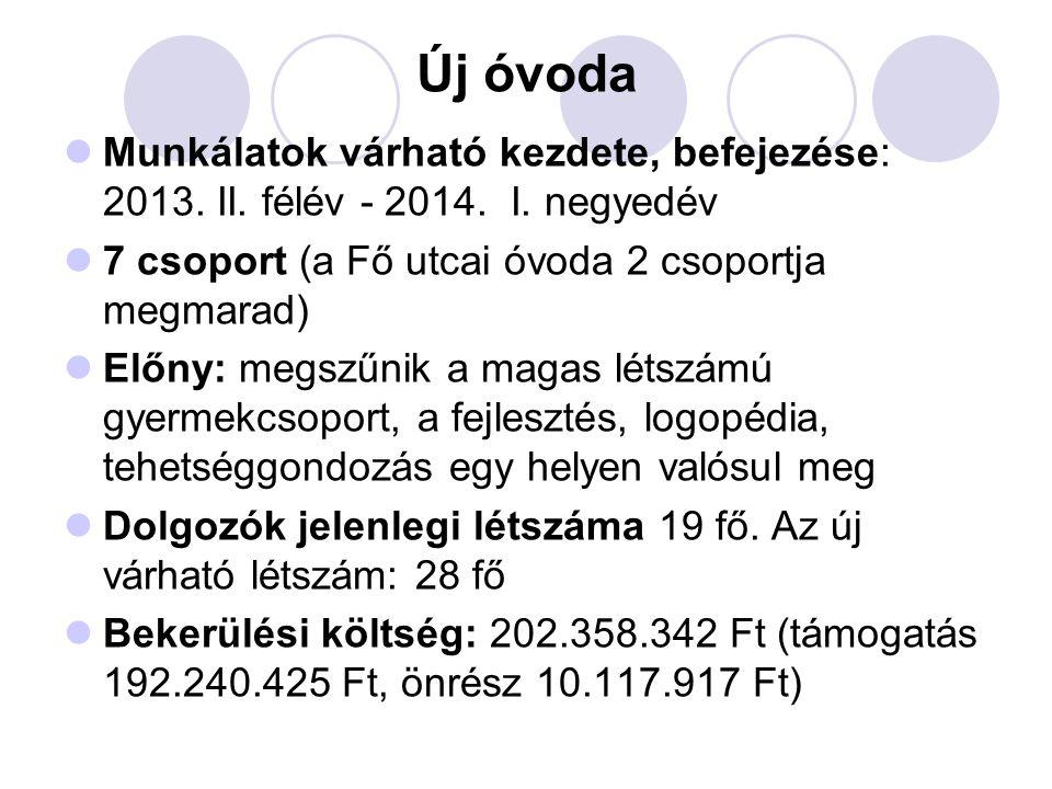 Új óvoda  Munkálatok várható kezdete, befejezése: 2013.