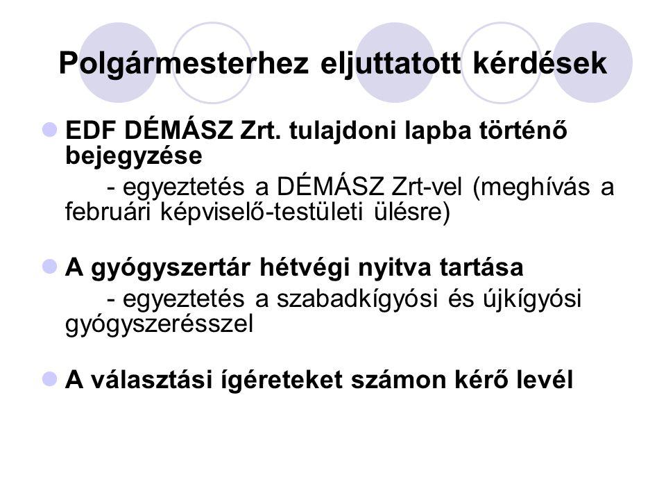 Polgármesterhez eljuttatott kérdések  EDF DÉMÁSZ Zrt.