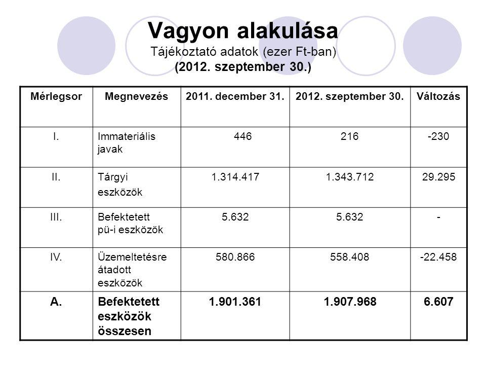 Vagyon alakulása Tájékoztató adatok (ezer Ft-ban) (2012.