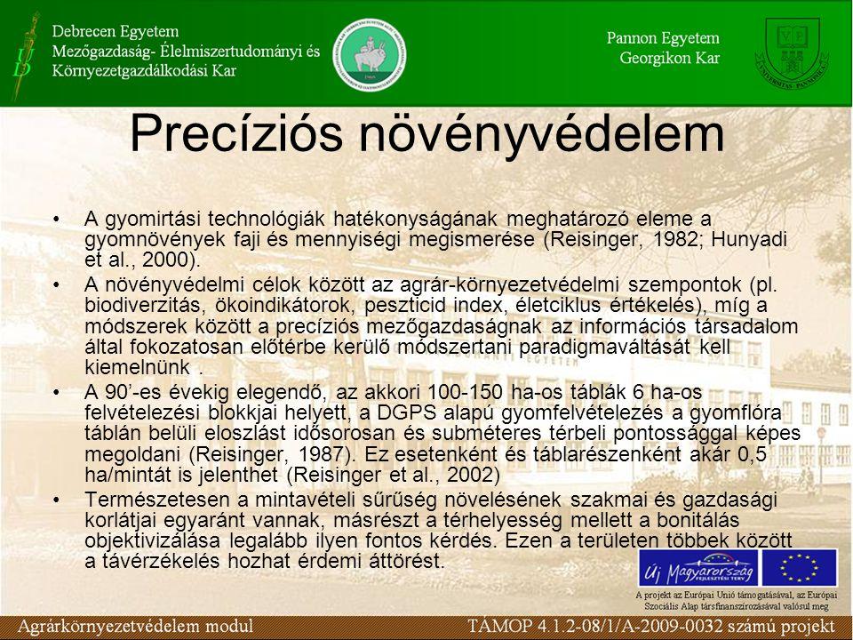 Precíziós növényvédelem •A műholdas adatok farm szintű hatékony alkalmazhatóságnak gyakori akadályai: a nem elégséges térbeli felbontás, a nagy visszatérési idő, a felhőviszonyok és esetenként a spektrumok lefedettsége.
