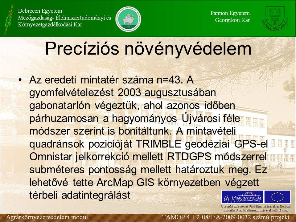 Precíziós növényvédelem •Az eredeti mintatér száma n=43. A gyomfelvételezést 2003 augusztusában gabonatarlón végeztük, ahol azonos időben párhuzamosan