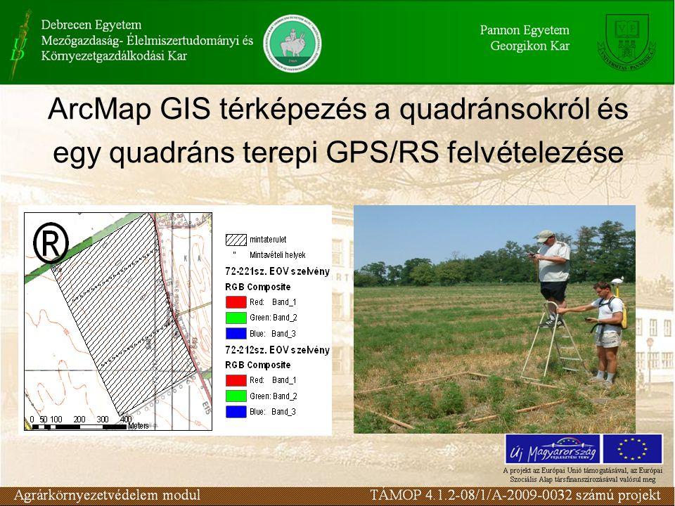 ArcMap GIS térképezés a quadránsokról és egy quadráns terepi GPS/RS felvételezése