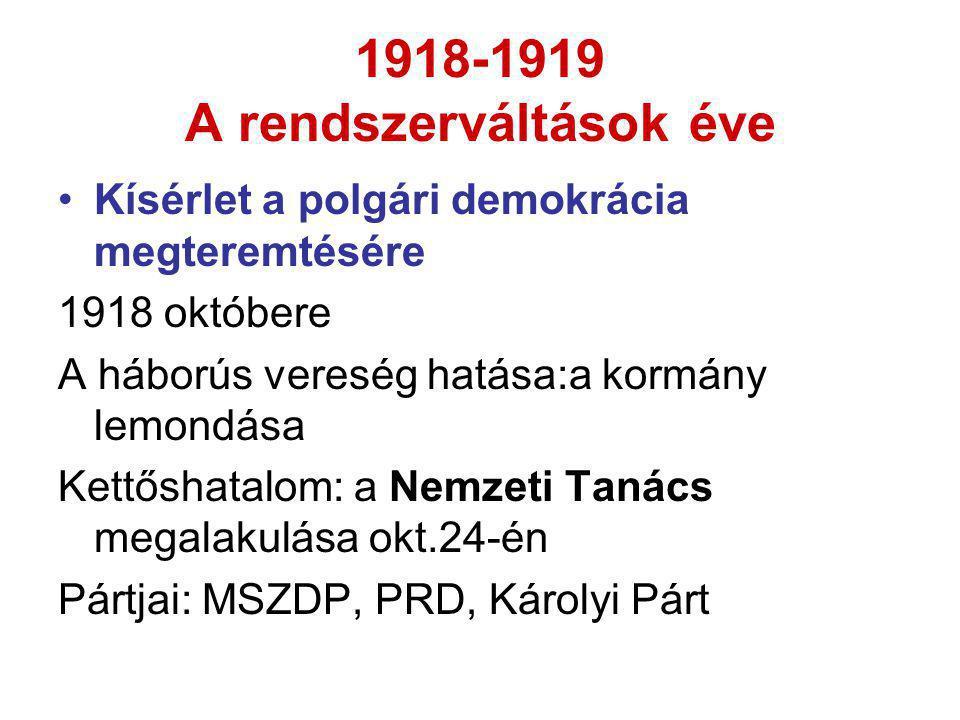 1918-1919 A rendszerváltások éve •Kísérlet a polgári demokrácia megteremtésére 1918 októbere A háborús vereség hatása:a kormány lemondása Kettőshatalo