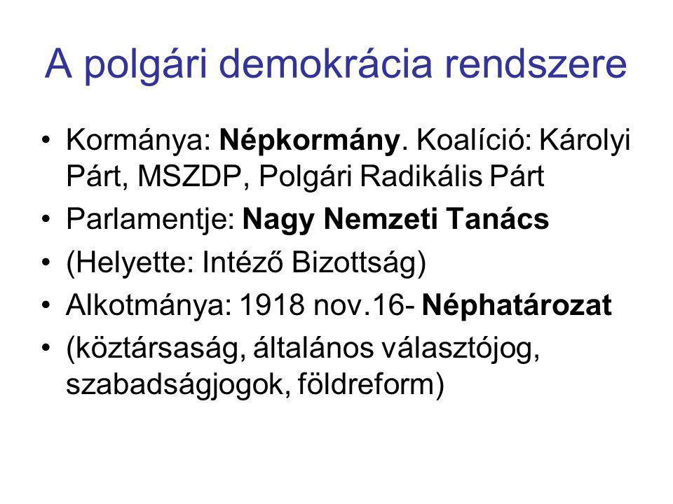 A polgári demokrácia rendszere •Kormánya: Népkormány. Koalíció: Károlyi Párt, MSZDP, Polgári Radikális Párt •Parlamentje: Nagy Nemzeti Tanács •(Helyet