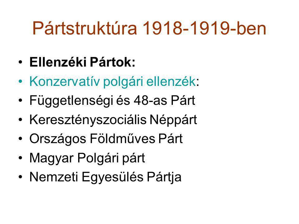 Pártstruktúra 1918-1919-ben •Ellenzéki Pártok: •Konzervatív polgári ellenzék: •Függetlenségi és 48-as Párt •Keresztényszociális Néppárt •Országos Föld