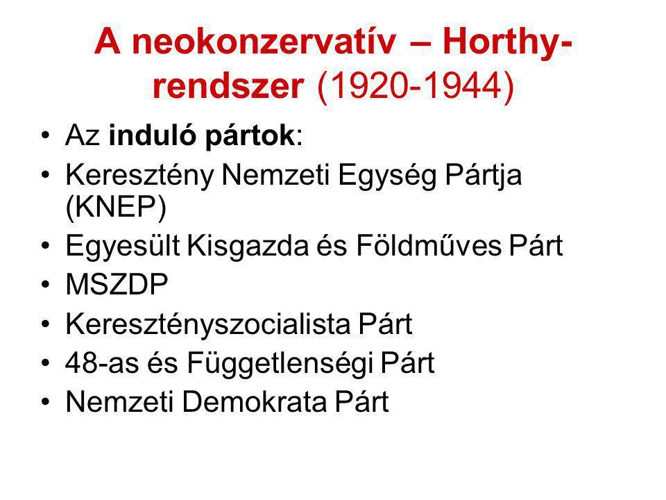 A neokonzervatív – Horthy- rendszer (1920-1944) •Az induló pártok: •Keresztény Nemzeti Egység Pártja (KNEP) •Egyesült Kisgazda és Földműves Párt •MSZD