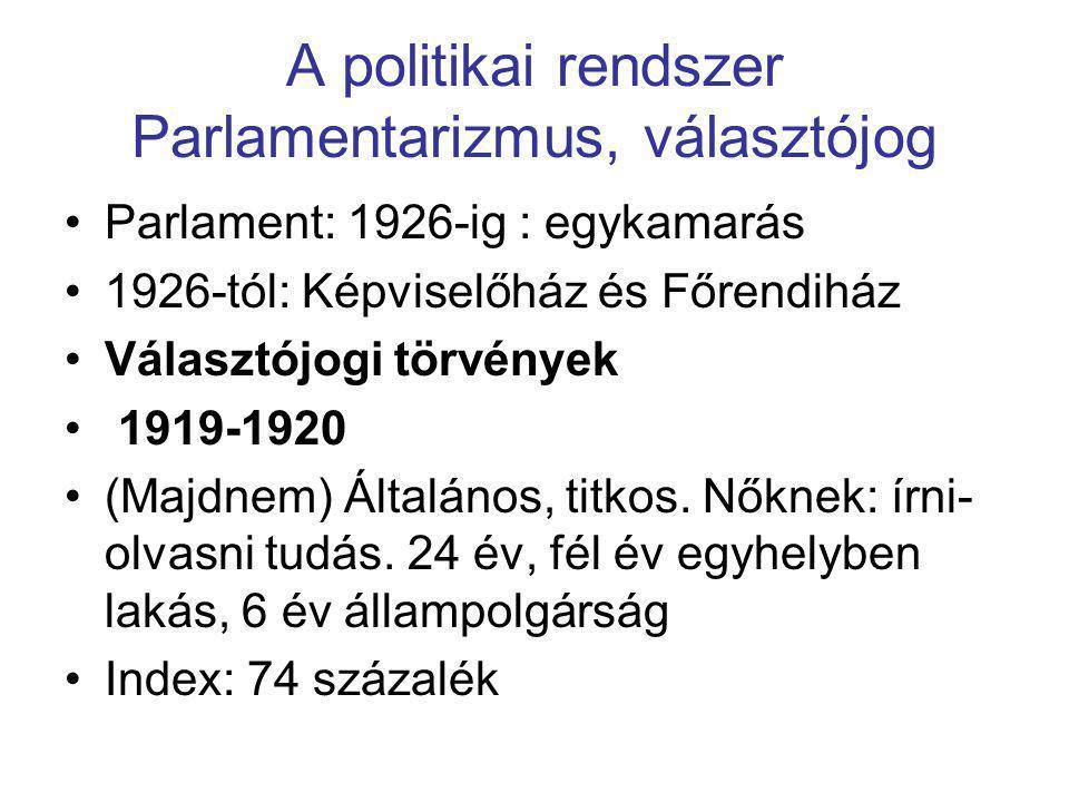 A politikai rendszer Parlamentarizmus, választójog •Parlament: 1926-ig : egykamarás •1926-tól: Képviselőház és Főrendiház •Választójogi törvények • 19