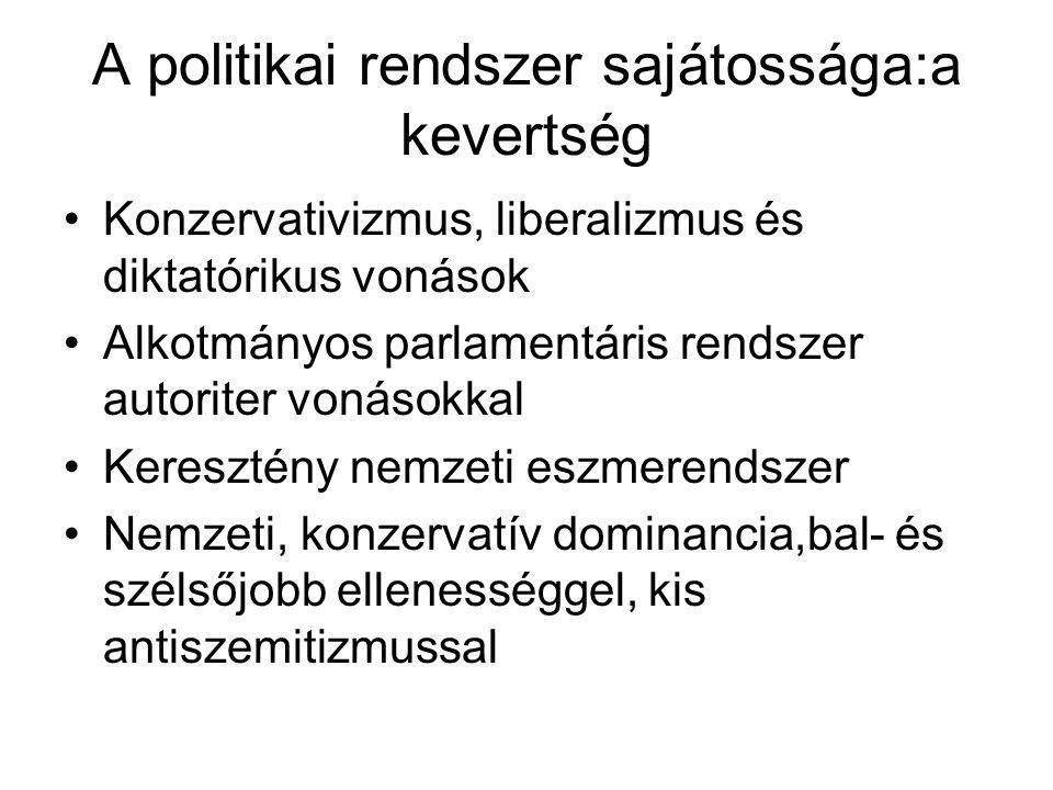 A politikai rendszer sajátossága:a kevertség •Konzervativizmus, liberalizmus és diktatórikus vonások •Alkotmányos parlamentáris rendszer autoriter von