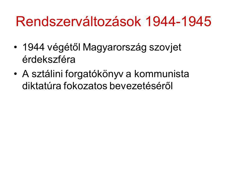 Rendszerváltozások 1944-1945 •1944 végétől Magyarország szovjet érdekszféra •A sztálini forgatókönyv a kommunista diktatúra fokozatos bevezetéséről