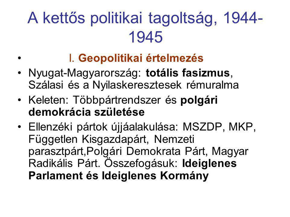 A kettős politikai tagoltság, 1944- 1945 • I. Geopolitikai értelmezés •Nyugat-Magyarország: totális fasizmus, Szálasi és a Nyilaskeresztesek rémuralma