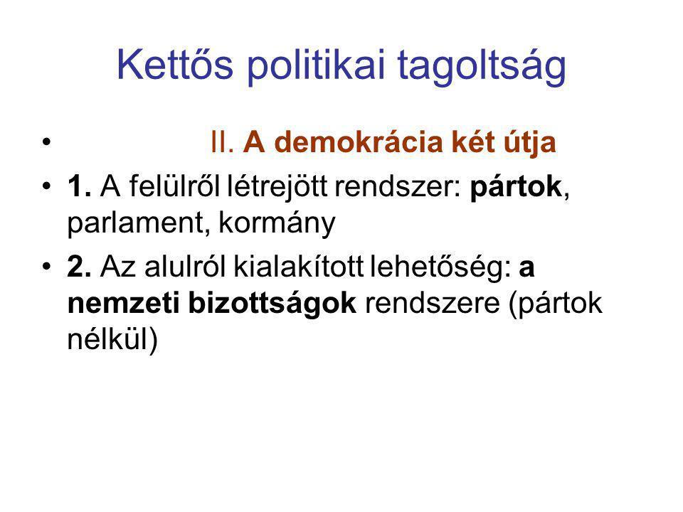 Kettős politikai tagoltság • II. A demokrácia két útja •1. A felülről létrejött rendszer: pártok, parlament, kormány •2. Az alulról kialakított lehető