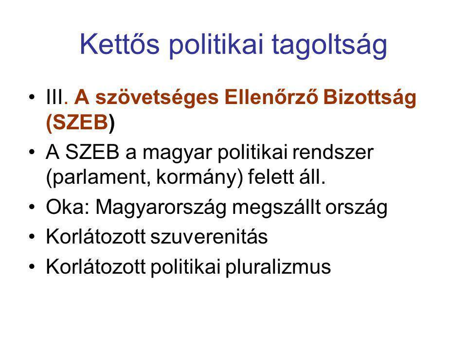 Kettős politikai tagoltság •III. A szövetséges Ellenőrző Bizottság (SZEB) •A SZEB a magyar politikai rendszer (parlament, kormány) felett áll. •Oka: M