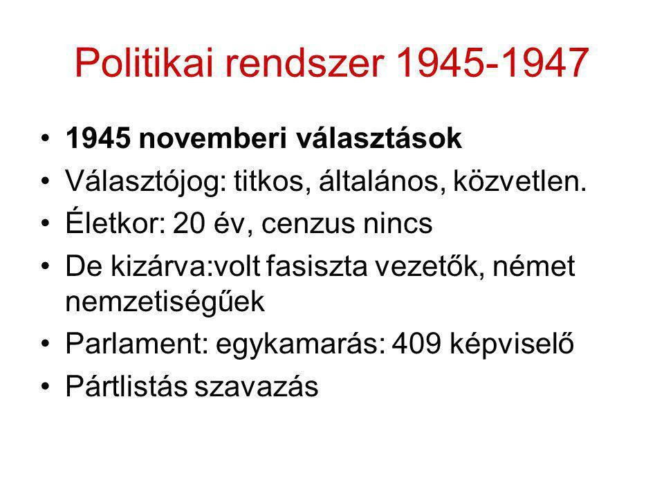 Politikai rendszer 1945-1947 •1945 novemberi választások •Választójog: titkos, általános, közvetlen. •Életkor: 20 év, cenzus nincs •De kizárva:volt fa