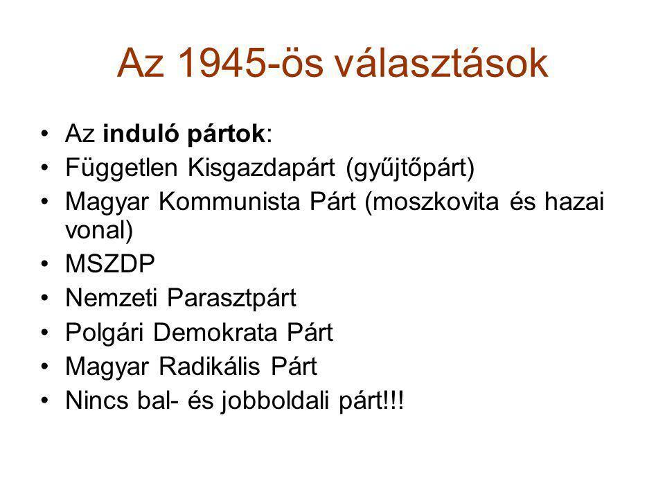 Az 1945-ös választások •Az induló pártok: •Független Kisgazdapárt (gyűjtőpárt) •Magyar Kommunista Párt (moszkovita és hazai vonal) •MSZDP •Nemzeti Par