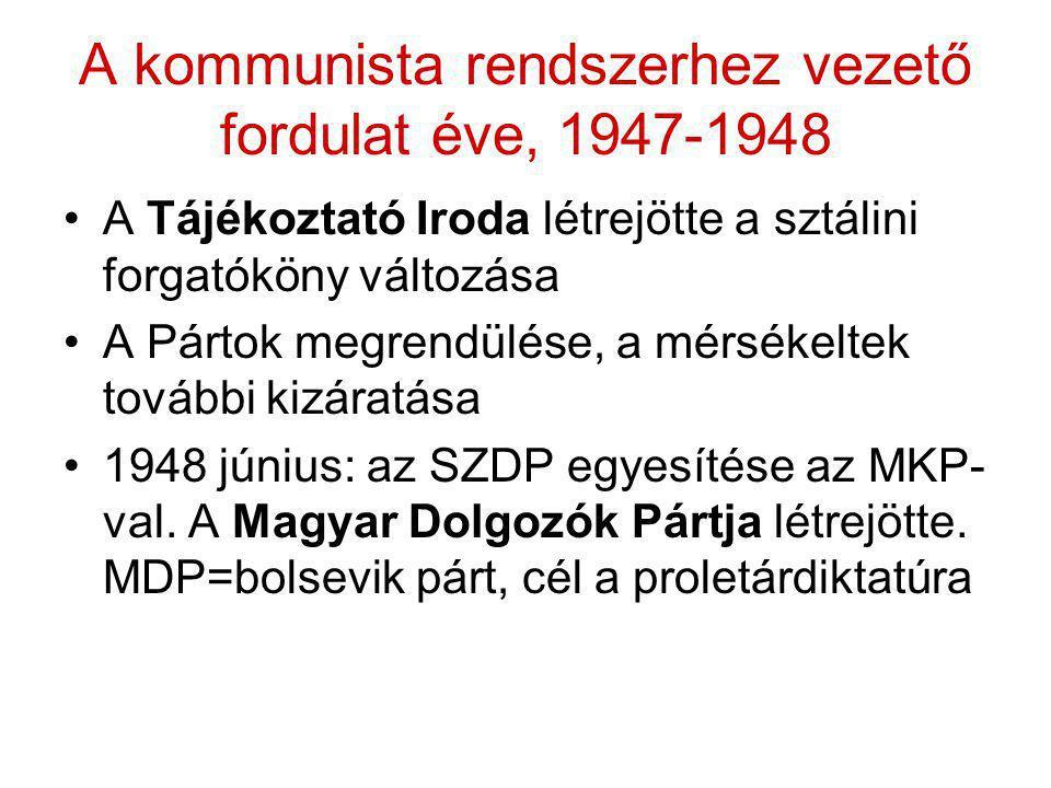 A kommunista rendszerhez vezető fordulat éve, 1947-1948 •A Tájékoztató Iroda létrejötte a sztálini forgatóköny változása •A Pártok megrendülése, a mér