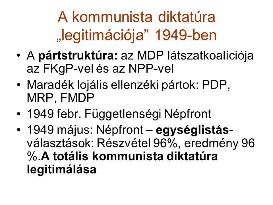 """A kommunista diktatúra """"legitimációja"""" 1949-ben •A pártstruktúra: az MDP látszatkoalíciója az FKgP-vel és az NPP-vel •Maradék lojális ellenzéki pártok"""