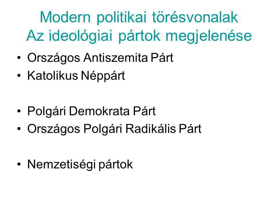 Modern politikai törésvonalak Az ideológiai pártok megjelenése •Országos Antiszemita Párt •Katolikus Néppárt •Polgári Demokrata Párt •Országos Polgári