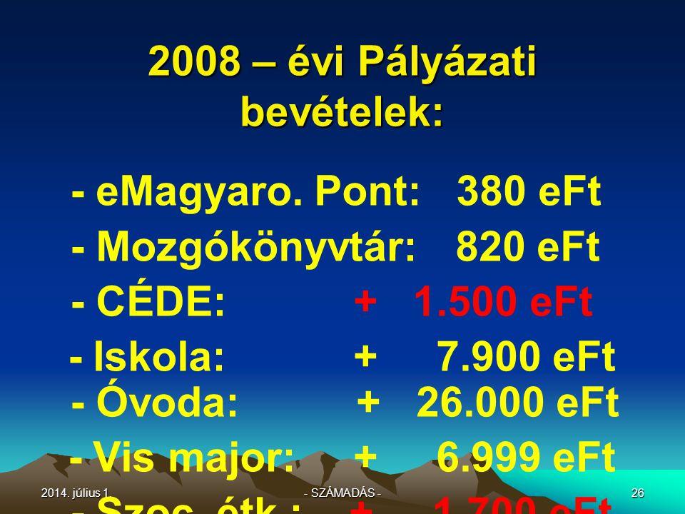 2014.július 1.2014. július 1.2014. július 1.25 2008 – évi TAKARÉKOSSÁGOK – MEGTAKARÍTÁSOK .