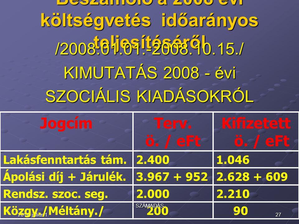 2014.július 1.2014. július 1.2014. július 1.26 2008 – évi Pályázati bevételek: - eMagyaro.