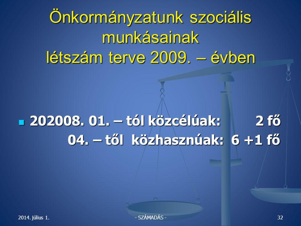 2014.július 1.31 Önkormányzatunk szociális munkásainak 2007 - évi Létszám alakulása:  2008.