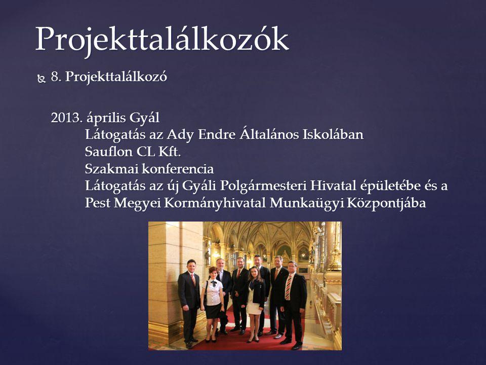  8. Projekttalálkozó 2013. április Gyál Látogatás az Ady Endre Általános Iskolában Sauflon CL Kft. Szakmai konferencia Látogatás az új Gyáli Polgárme