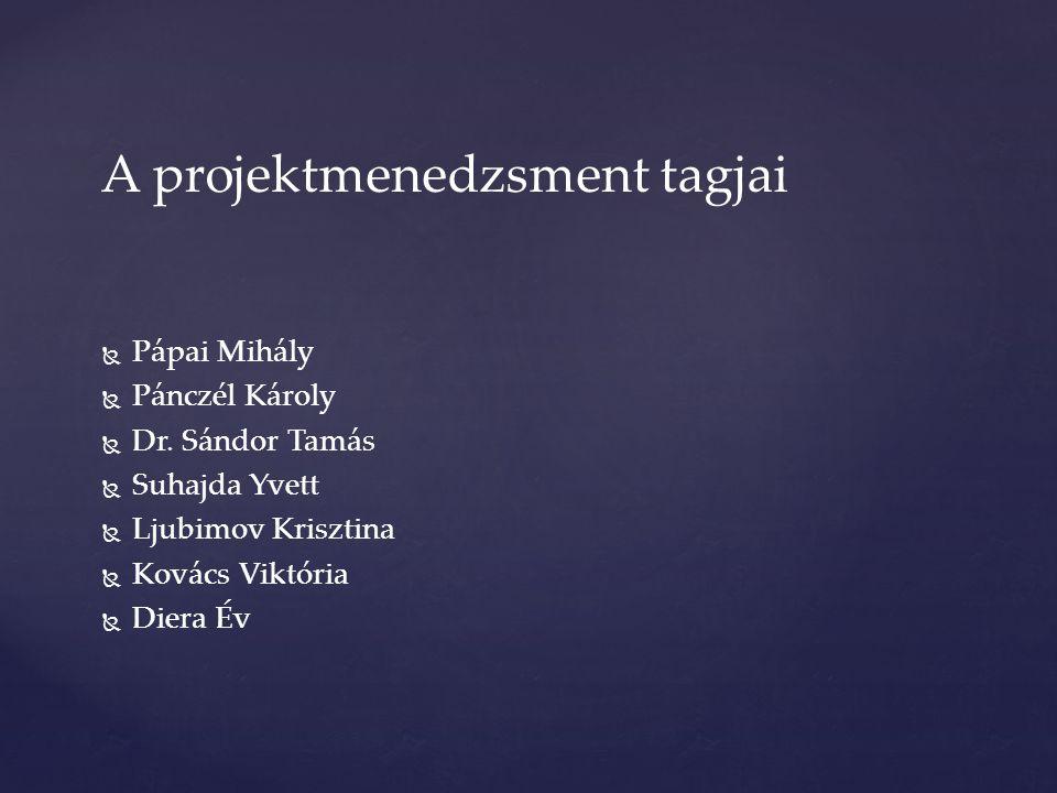 A projektmenedzsment tagjai   Pápai Mihály   Pánczél Károly   Dr. Sándor Tamás   Suhajda Yvett   Ljubimov Krisztina   Kovács Viktória  