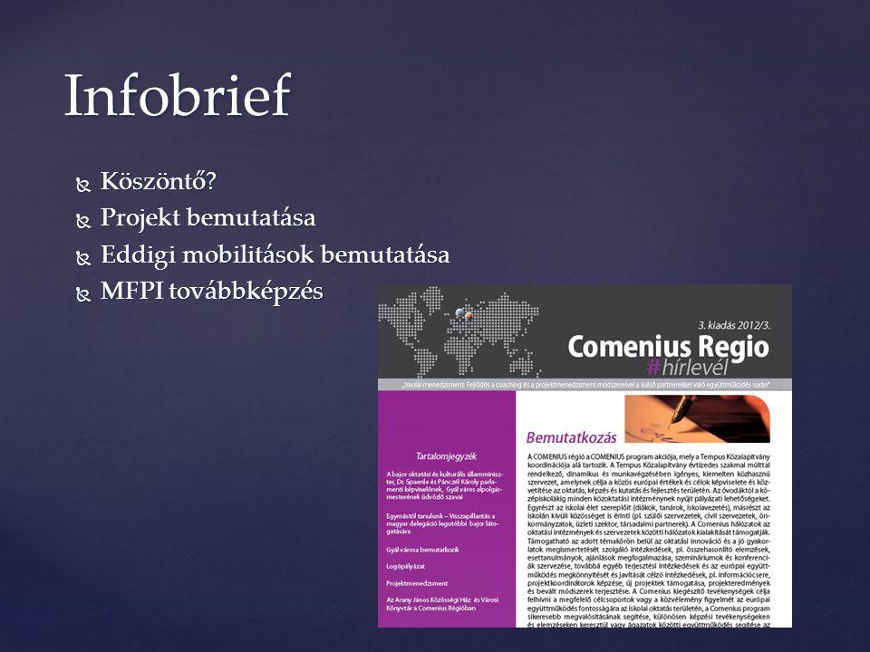  Köszöntő?  Projekt bemutatása  Eddigi mobilitások bemutatása  MFPI továbbképzés Infobrief