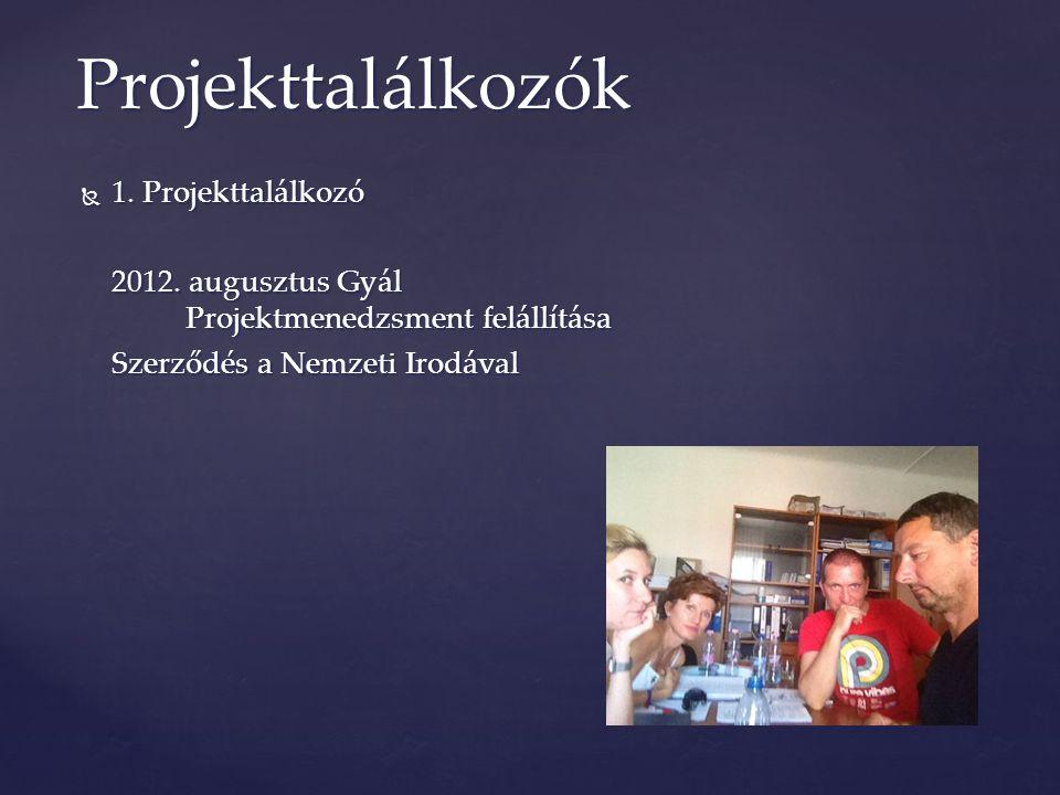  1. Projekttalálkozó 2012. augusztus Gyál Projektmenedzsment felállítása Szerződés a Nemzeti Irodával Projekttalálkozók