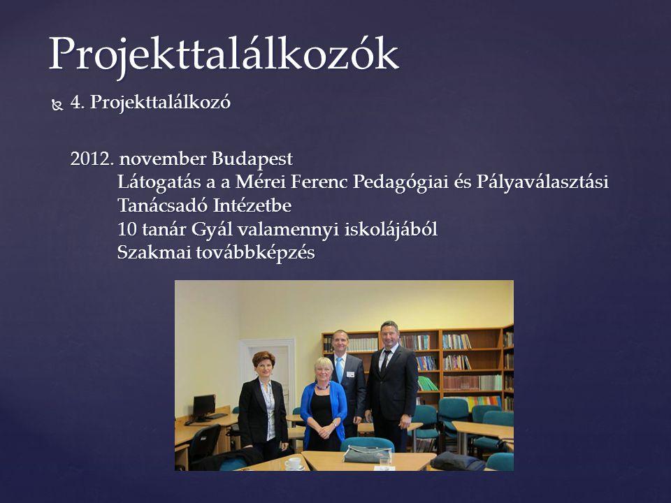  4. Projekttalálkozó 2012. november Budapest Látogatás a a Mérei Ferenc Pedagógiai és Pályaválasztási Tanácsadó Intézetbe 10 tanár Gyál valamennyi is