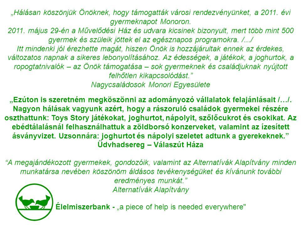 """Élelmiszerbank - """"a piece of help is needed everywhere"""