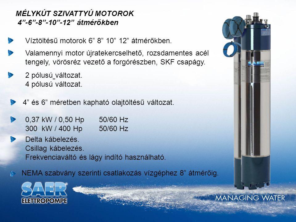 """NEMA szabvány szerinti csatlakozás vízgéphez 8"""" átmérőig. MÉLYKÚT SZIVATTYÚ MOTOROK 4""""-6""""-8""""-10""""-12"""" átmérőkben Valamennyi motor újratekercselhető, ro"""