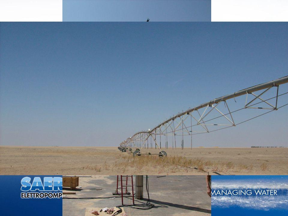 """Libia, 2008, Szeptember Esettanulmány Két darab bronz, 14"""" átmérőjű mélykút szivattyú (P=200 Hp and 250 Hp) lát el lineár öntözőberendezéseket vízzel"""