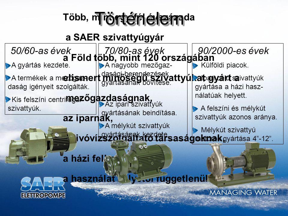 Több, mint egy fél évszázada a SAER szivattyúgyár a Föld több, mint 120 országában elismert minőségű szivattyúkat gyárt a mezőgazdaságnak, az iparnak,