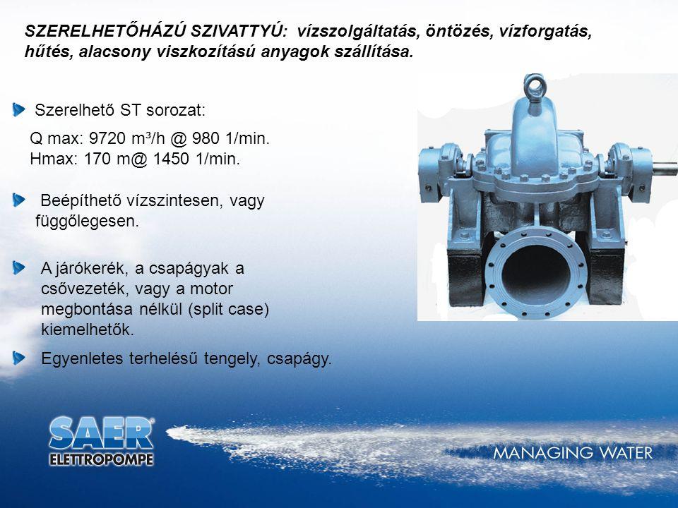 SZERELHETŐHÁZÚ SZIVATTYÚ: vízszolgáltatás, öntözés, vízforgatás, hűtés, alacsony viszkozítású anyagok szállítása. Szerelhető ST sorozat: Q max: 9720 m