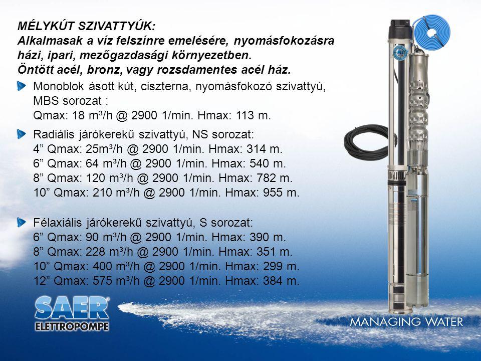 NEMA szabvány szerinti csatlakozás vízgéphez 8 átmérőig.