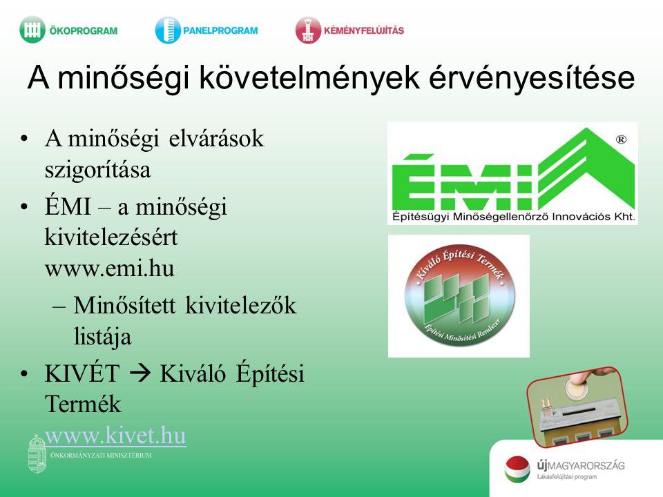 A minőségi követelmények érvényesítése •A minőségi elvárások szigorítása •ÉMI – a minőségi kivitelezésért www.emi.hu –Minősített kivitelezők listája •