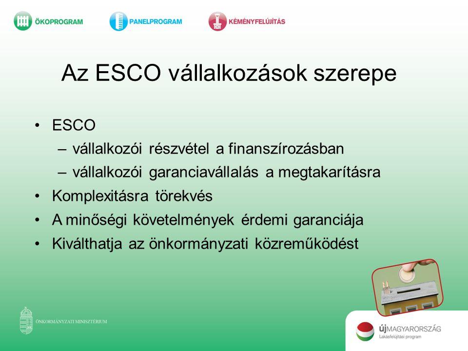 Az ESCO vállalkozások szerepe •ESCO –vállalkozói részvétel a finanszírozásban –vállalkozói garanciavállalás a megtakarításra •Komplexitásra törekvés •