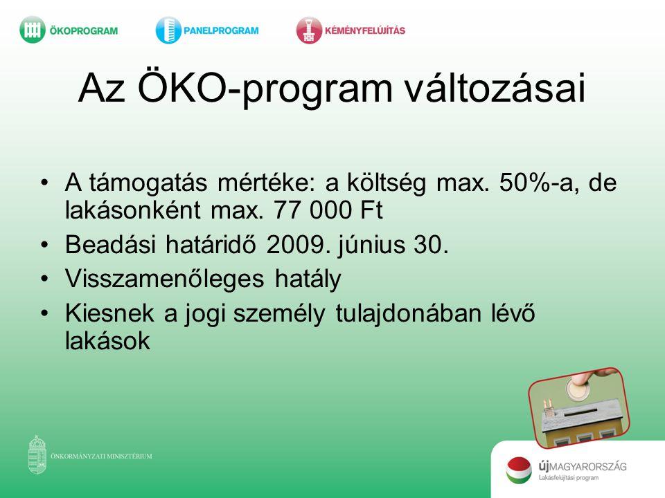 Az ÖKO-program változásai •A támogatás mértéke: a költség max. 50%-a, de lakásonként max. 77 000 Ft •Beadási határidő 2009. június 30. •Visszamenőlege