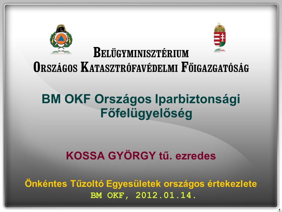 -1- BM OKF Országos Iparbiztonsági Főfelügyelőség KOSSA GYÖRGY tű. ezredes Önkéntes Tűzoltó Egyesületek országos értekezlete BM OKF, 2012.01.14.